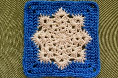 Square 96 in Blue and White using Lion Brand Vanna's Choice Solids.