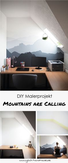 DIY Malerprojekt: Mountains are calling DIY painter project for beautiful living: Get the mountains home and paint a mountain landscape on your wall. Tips & tricks as well as the creative DIY instructions to paint mountains on the wall on Yeah Handmade. Fall Home Decor, Autumn Home, Make Your Own Poster, Space Saving Staircase, Dark Grey Walls, Diy Wand, Beautiful Bathrooms, Diy Painting, Life Is Beautiful