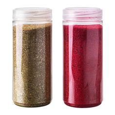 IKEA - KULÖRT, Dekoration, Glassplitter, Die Glassplitter glitzern und funkeln, wenn Licht darauffällt; dekorativ in Schalen, Vasen usw.Eine ansprechende Kombination sind Dekoglassplitter mit Kerzen in einer Leuchterschale arrangiert.Das Schraubglas können die Dekoglassplitter aufbewahrt werden, wenn man sie nicht zum Dekorieren benutzt.