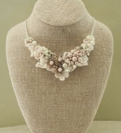 Blush Bridal Bib Necklace- Champagne Pink Wedding Statement Necklace- Rosette, Vintage jewelry, Pearls, Lace,