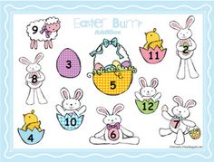 Easter Bump- addition, subtraction