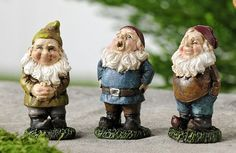 """Miniature Gnomes – eFairies.comMiniature Gnomes are now come in small sizes! These fun fellas are so sweet choosing one is so difficult! Choose from Brown, Blue, or Green!     Dimensions:  2 1/2"""" H x 1"""" W x 1"""" D 2.50 each"""