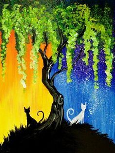 Easy q-tip paintings of Day and Night Cats. weeping willow Tree acrylic on canvas for Beginners Art Sherpa