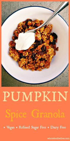 Easy to make pumpkin spice granola which will make your house smell beautiful while it gets all toasty in the oven. Pairs great with yogurt for breakfast. Pumpkin Recipes, Fall Recipes, Real Food Recipes, Great Recipes, Cooking Recipes, Favorite Recipes, Delicious Recipes, Healthy Recipes, Pumpkin Dishes