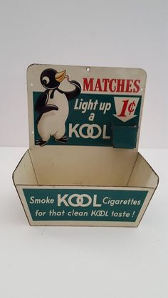 Vintage Kool Cigarettes advertising matchbook/matchbox holder, embossed tin features Willie the Penguin, late great condition British American Tobacco, Vintage Box, Little Boxes, Vintage Advertisements, Custom Cars, Tin, Advertising, Penguin, Antique