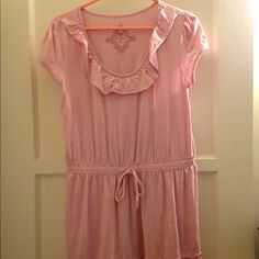 EDC by Esprit pink dress 100% cotton pink dress gently used. Dress came with two tiny holes on the neckline. Holes seem to have been from tags and go through back but are barely noticeable. Dress length reaches my knee however I am 5ft tall and may fit differently on you. ESPRIT Dresses