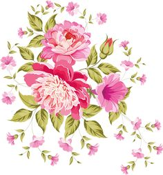 my design / beautiful flowers Bunch Of Flowers, Pink Flowers, Vintage Floral Wallpapers, Flower Sketches, Flower Clipart, Borders And Frames, Pen Art, Background Vintage, Flower Pictures