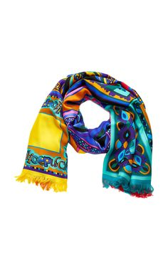 Printed Silk Scarf by EMILIO PUCCI Now Available on Moda Operandi Emilio  Pucci, Womens Scarves 5595f96a20e