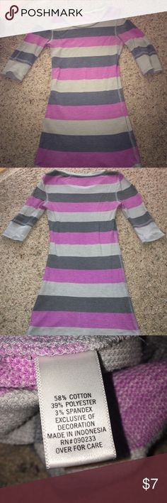 Striped thermal Pink and ray striped. Half sleeves. These shirt is very flattering to your curves. Very stretchy. Could fit a small if you are petite Nollie Tops