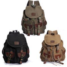 HOT Men Canvas Leather Backpack Travel Hiking School Satchel Military Bag Rucksack