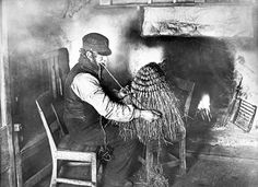 This Shetland crofter is making a kishie, a type of basket made out of straw or rushes. These had many uses including carrying peat or potatoes, sowing seeds and oats, and transporting goods to and from market. The photograph was taken in the 1890s.