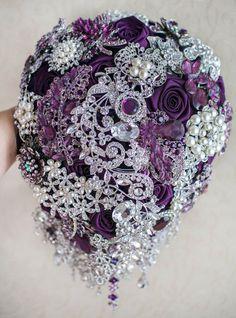 Purple and Silver wedding brooch bouquet, Jeweled Bouquet. Bouquet Bling, Purple Brooch Bouquet, Purple Bouquets, Wedding Brooch Bouquets, Bride Bouquets, Flower Bouquet Wedding, Flower Bouquets, Peonies Bouquet, Brooch Bouquet Tutorial