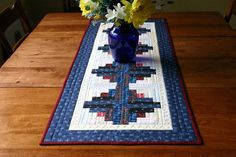 Liberty log cabin table runner by BlueberryHillQuilts on Etsy, $60.00