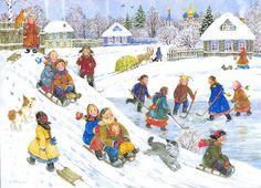 Soloillustratori: Elena Uvarova Christmas Scenes, Christmas Art, Ukrainian Art, Naive Art, Vintage Christmas Cards, Winter Scenes, Painting For Kids, Beautiful Paintings, Vintage Postcards