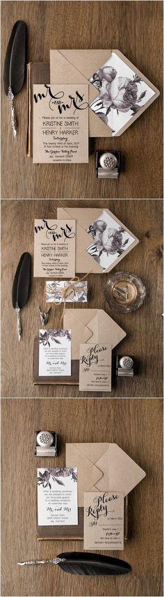 Rustic simple wedding invitations | Deer Pearl Flowers / http://www.deerpearlflowers.com/rustic-wedding-invitations/rustic-simple-wedding-invitations/