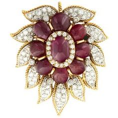 Van Cleef & Arpels Paris Diamond Ruby Cabochon Gold Leaf Brooch