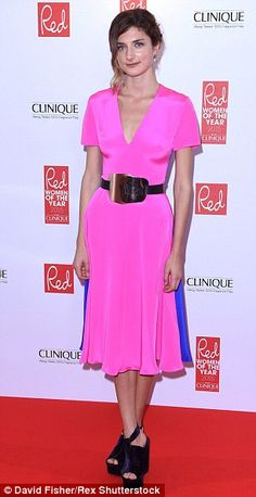 Daisy Bevan in a pink and cobalt blue number...