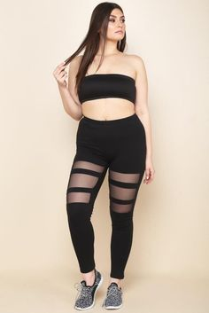 DETAILS A pair of plus size leggings with an elasticized waistline. Features mesh stripes on upper thighs. Mesh Leggings, Plus Size Leggings, Size Clothing, Plus Size Outfits, Thighs, Sporty, Stripes, Pairs, Big