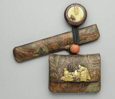 Tobacco-pouch and pipecase with embossed designs; netsuke; kanamono; ojime  Japanese, Edo period–Meiji era, mid to late 19th century (before 1889)  By Sasaoka Keimin, Japanese  By Ikedo Minkoku, Japanese, 1828–1916, MFA
