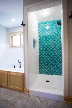 38 Beautiful Fish Scale Tile Bathroom Ideas