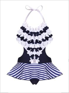 Girls Floral & Striped Cutout Skirted One Piece Swimsuit. Looks like the flowers have already sprung on this oh-so-sweet cutout one piece swimsuit! We're sure she'll eagerly show off this gorgeously detailed piece! One Piece Swimsuit Slimming, One Piece Swimsuit Trendy, Little Girl Skirts, Little Girl Swimsuits, Unique Swimsuits, Two Piece Swimsuits, Kids Suits, Girls Bathing Suits, Blue Swimsuit