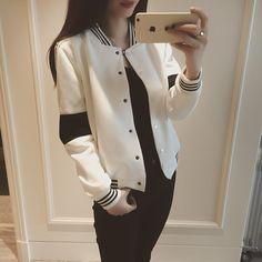 2017 Lente stijl zwart-wit kleurblok casual baseball shirt korte jas vrouwelijke Bedekt knop vrouwen jas vest