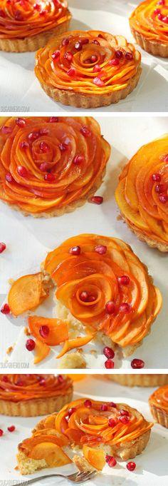 Persimmon Almond Rosette Tarts - a gorgeous fall dessert! | From SugarHero.com