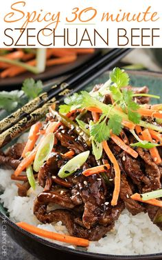30 Minute Spicy Ginger Szechuan Beef | No need to order take-out, this spicy ginger Szechuan beef is completely mouthwatering and ready in just 30 minutes! Perfect for a busy weeknight dinner! | http://thechunkychef.com