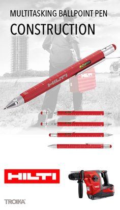 TROIKA CONSTRUCTION - HILTI engraving. Multitasking ballpoint pen *** Multitasking Kugelschreiber