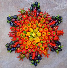 This beautiful organic series 'Flower Mandalas' was handcrafted by Arizona artist Kathy Klein. Her series is a colorful symmetrical display that flourishes with each individual original pattern lead by the natural creation of each diverse flower. What's unique about Kathy's flora stamp is that it's a public gift for whomever discovers them.