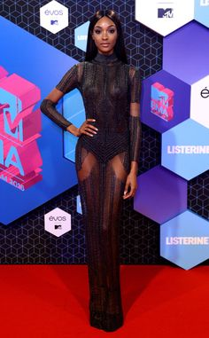 Jourdan Dunn from MTV EMAs 2016 Red Carpet Arrivals  The fashion model opts for a glamorous look before presenting one of the biggest awards of the evening.