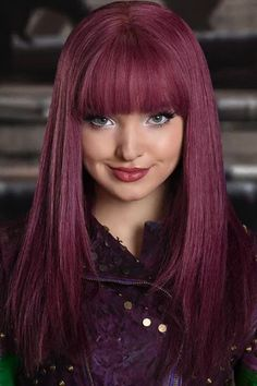 Women Purple Descendants 2 Mal Neat Bang Long Straight Cosplay Wig - One Size Trendfrisuren Dove Cameron Descendants, The Descendants, Mal Descendants Costume, Short Bangs, Long Hair With Bangs, Hair Bangs, Hairstyles With Bangs, Straight Hairstyles, Dove Cameron Style