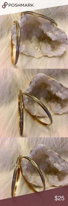 """⚡️⚡️ 18k Gold Silver Glitter Hoops Earrings Brand New Boutique Item In Packaging And Mesh Bag.. ❤️JUST ARRIVED❤️  18k Gold Plated Silver Glitter Hoops. Approx 3"""" Inches Flat From Top To Bottom. Hypoallergenic, Pierced Ears. Perfect For Sensitive Ears Boutique Jewelry Earrings"""