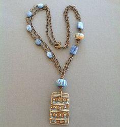 Brass Necklace Blue Brown Ceramic Pendant by MarthaDzJewelry
