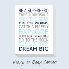 Be A Superhero Baby Boy Nursery Decor CANVAS ART Print  by Tessyla