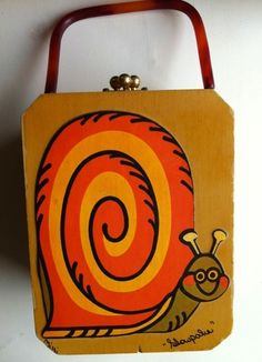 70s Vintage Wooden Box Purse Slowpoke Snail by Miki