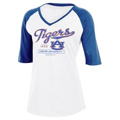 NCAA Auburn Tigers Women's Fashion V-Neck Raglan T-Shirt - XL,