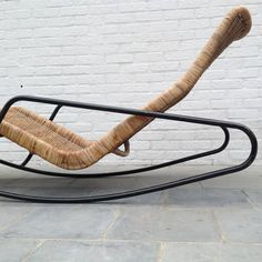 Rocking Chaise Longue in Cane by Dirk Van Sliedrecht. 1960s. Brothers Jonkers rattan factory The Netherlands.