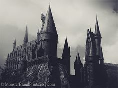 Hogwarts Castle Photography, Architecture Fine Art Print, Harry Potter Wall Art, Black and White Decor, GeekArt