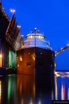 The Kaye E. Barker unloading at the Presque Isle Iron Ore Dock in Marquette, MI. She passes by our house on Harsens Island often. Miss Michigan, Marquette Michigan, Michigan Travel, State Of Michigan, Northern Michigan, Lake Michigan, Great Lakes Ships, Upper Peninsula, Lake Superior