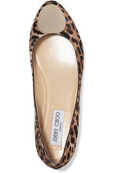 Jimmy Choo - Wray Leopard-print Calf Hair Ballet Flats - Leopard print - IT41.5