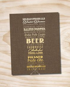 craft beer poster typography beer glass printed 11x14 poster by PaperHeartCompany on Etsy