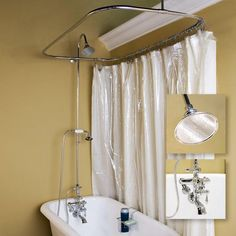 """Thermostatic Shower Conversion Kit - 54"""" x 28"""" Ring - Brushed Nickel"""