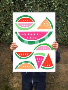 "Summer Fruit Poster print Watermelon Paradise / White  20""x27"" - archival fine…"