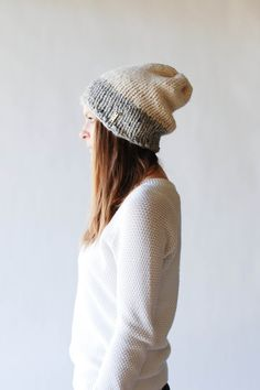 Knit Slouchy Two-Tone Hat / THE FRONTIER / Fisherman and Grey Marble