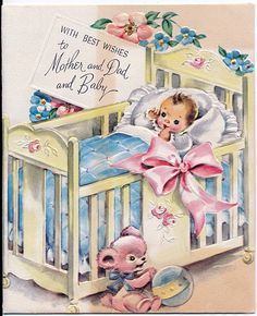 and baby images vintage baby card vintage baby card// WOW! I remember these! My mom had some in her keepsakes. Images Vintage, Vintage Pictures, 3d Prints, Baby Prints, Vintage Greeting Cards, Vintage Postcards, Vintage Stationary, Vintage Sweets, Baby Illustration