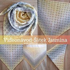 Videonávod- šátek Jasmína - Šátkomaniačky Crochet Shawl, Knit Crochet, Baby Knitting, Diy And Crafts, Crochet Patterns, Tote Bag, Scarfs, Jasmine, Handmade