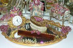 Antique Bejewelled Pink Dresser Set Weiss Juliana Brooches - Mirrored Tray, Comb & Brush By Debbie-Antique, Weiss, rhinestones, Victorian, Elegant,Mirror, Pink,