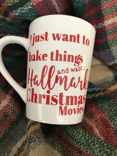 d0284eec Excited to share the latest addition to my shop: I Just Want to Bake Things  and watch Hallmark Christmas movies Mug (also available glitter dipped)