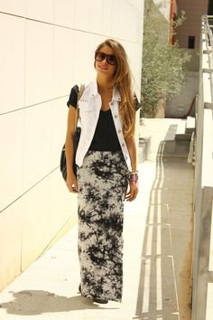 white vest long maxi skirt sunglasses summer outfits womens fashion clothes style apparel clothing closet ideas